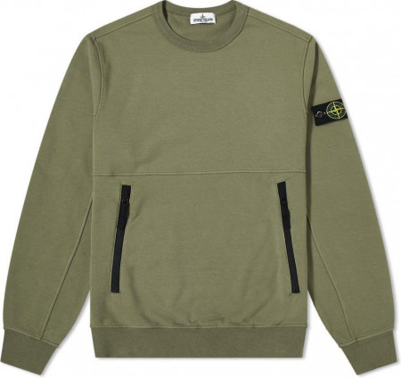 Stone Island Junior Sweat  zip noirs kaki (24ans) vert