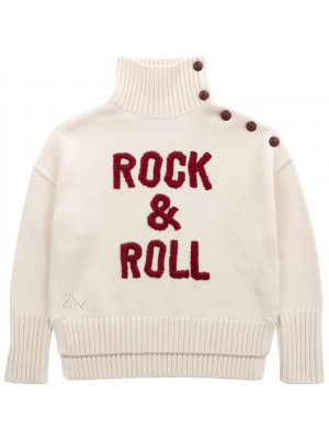 Zadig & Voltaire Pull Blanc Z&V Col Roulé Rock & Roll 6-12A Blanc